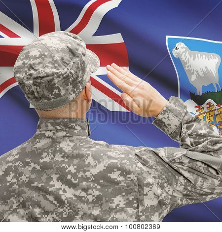 Soldier In Hat Facing National Flag Series - Falkland Islands