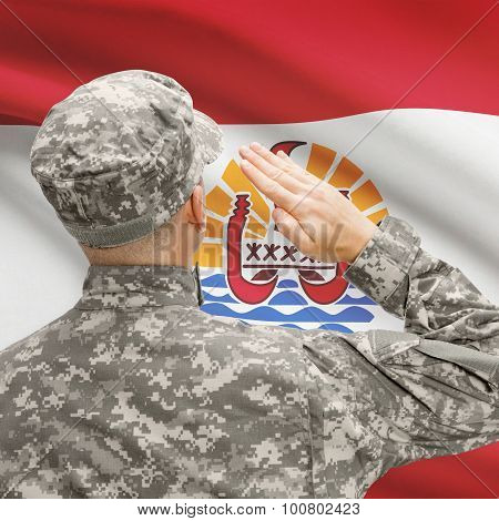Soldier In Hat Facing National Flag Series - French Polynesia
