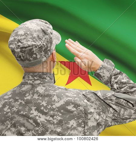 Soldier In Hat Facing National Flag Series - French Guiana