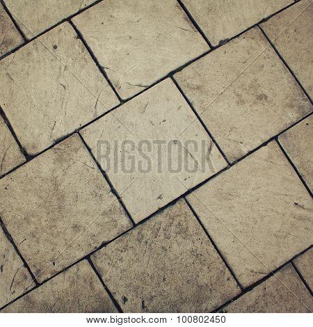 Typical Pavement. Stone Roadway. Diagonal Pattern.