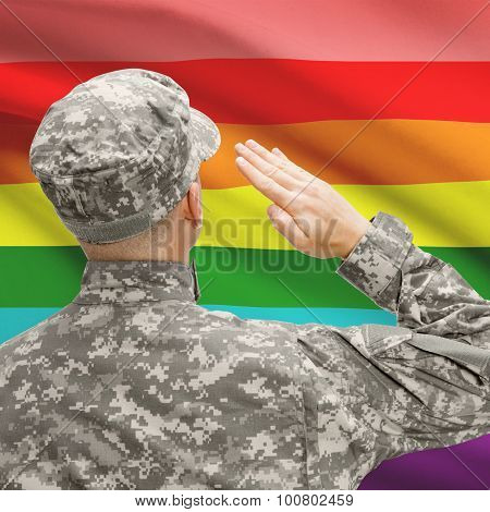 Soldier In Hat Facing National Flag Series - Lgbt Flag