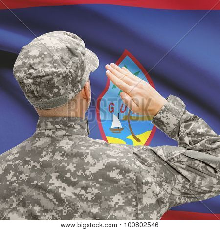 Soldier In Hat Facing National Flag Series - Guam