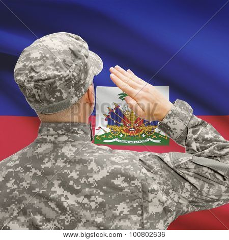 Soldier In Hat Facing National Flag Series - Haiti