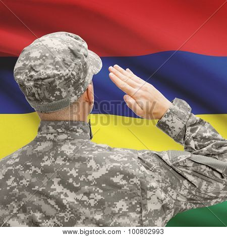 Soldier In Hat Facing National Flag Series - Mauritius