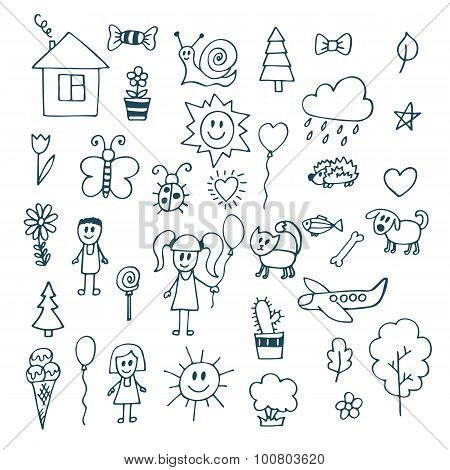 Children Drawing. Doodle Set Of Objects From A Child's Life