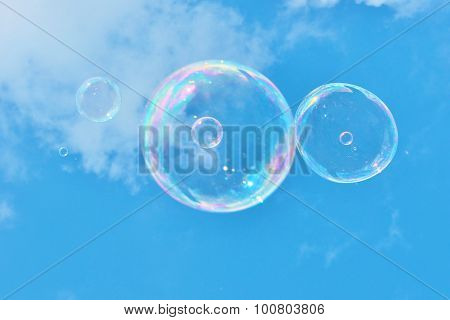 soap bubbles in sky