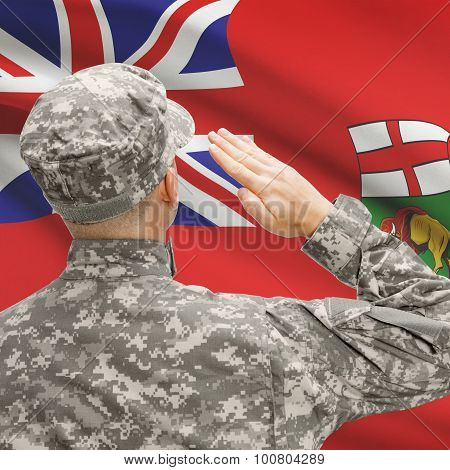 Soldier Saluting To Canadial Province Flag Series - Manitoba