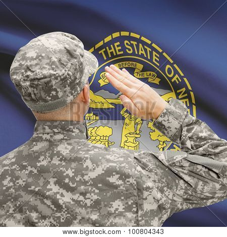 Soldier Saluting To Us State Flag Series - Nebraska