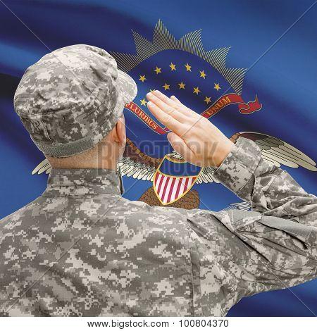 Soldier Saluting To Us State Flag Series - North Dakota