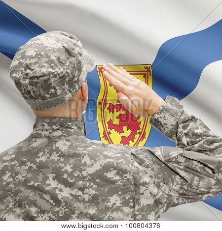 Soldier Saluting To Canadial Province Flag Series - Nova Scotia