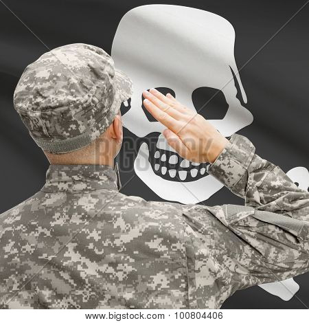 Young Soldier Saluting To Flag Series - Jolly Roger