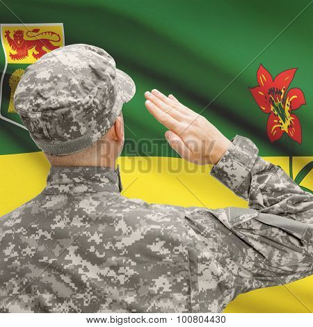 Soldier Saluting To Canadial Province Flag Series - Saskatchewan
