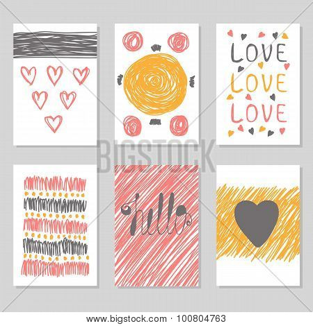 Hand Drawn Collection Of Journaling Cards With Romantic Textures. Collection Of Brochures, Posters,