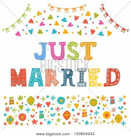 Just Married. Cute Greeting Card