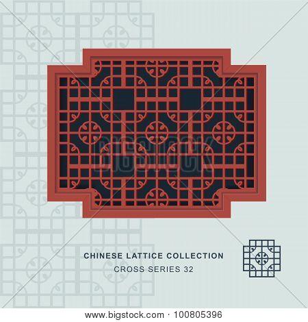Chinese window tracery cross frame 32 round corner
