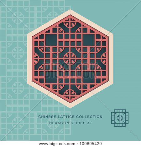 Chinese window tracery hexagon frame 32 round corner