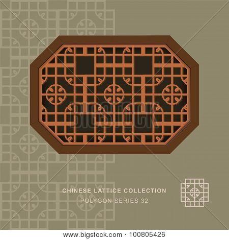Chinese window tracery polygon frame 32 round corner
