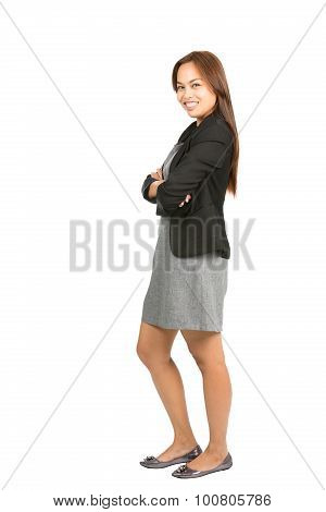 Engaging Asian Businesswoman Side Dress At Full