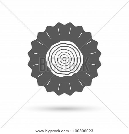 Wood sign icon. Tree growth rings.