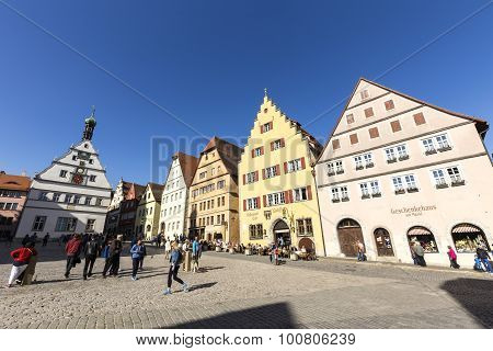 People At The Market Place Of Rothenburg Ob Der Tauber