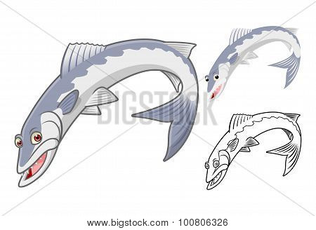 High Quality Barracuda Cartoon Character Include Flat Design and Line Art Version