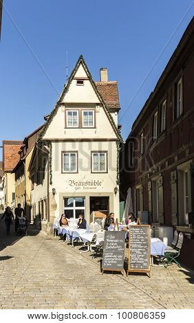 People At The Market Place Of Rothenburg Ob Der Tauber