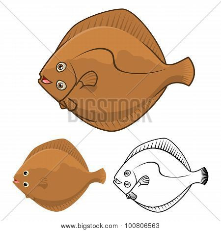 High Quality Flatfish Cartoon Character Include Flat Design and Line Art Version
