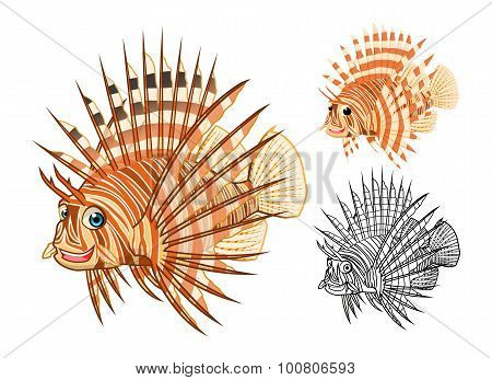 High Quality Lionfish Cartoon Character Include Flat Design and Line Art Version