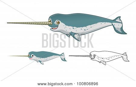 High Quality Narwhal Whale Cartoon Character Include Flat Design and Line Art Version