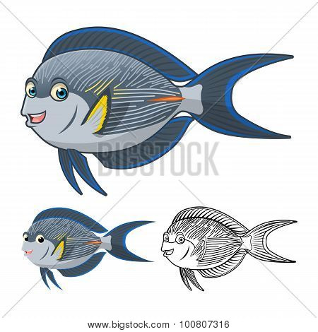 High Quality Sohal Surgeonfish Cartoon Character Include Flat Design and Line Art Version