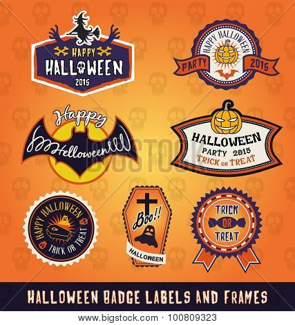 Set Of Halloween Badge Label And Frames