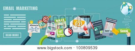 Email Marketing Advertising Strategy Concept Banner Background