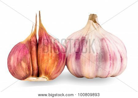 Two Garlics Isolated On White Background