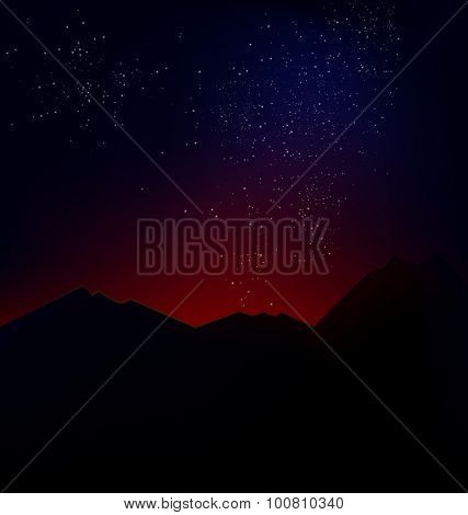 mountain landscape with the cosmic horizon