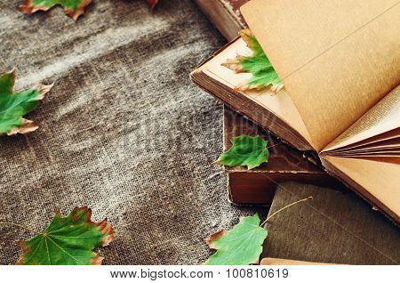 Vintage Book With Autumn Maple Leaves On The Table The Laid Sacking Closeup