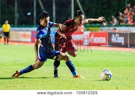 Sisaket Thailand-august 12: Kaneung Buransook Of Sisaket Fc. (crimson) Shooting Ball During Chang Fa