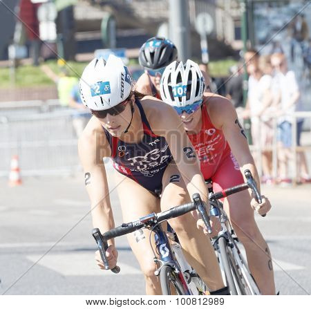 Sarah True And Competitors Cycling