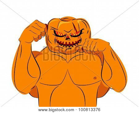 Strong Pumpkin Fighter Ready For Battle. Halloween Character With Big Muscles. Bad, Terrible Vegetab