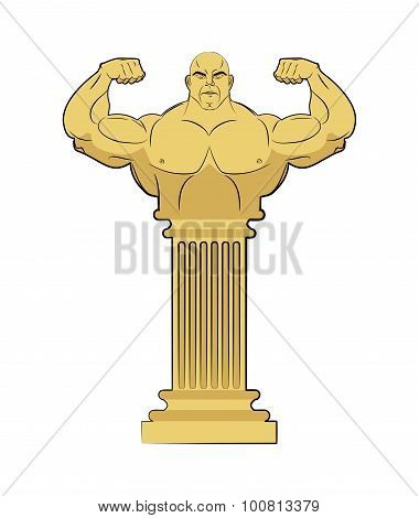 Ancient Greek Sculpture Of  Athlete. Body Strong Man On Column. Vector Illustration Of A Statue With