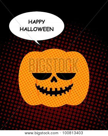 Happy Halloween. Pumpkin With Bubble Pop Art. Jolly Pumpkin Open-mouthed On Black Background. Vector