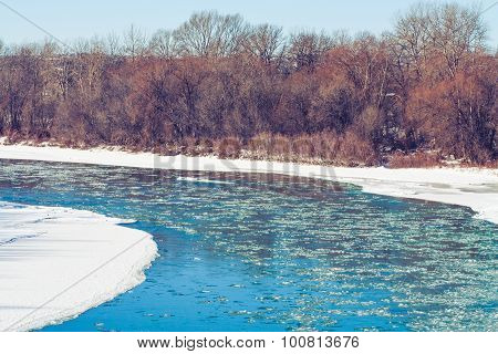 Blue Icy Water of the Bow River