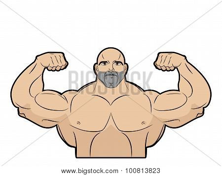 Bodybuilder On A White Background. Athlete With Big Muscles. Big Brutal Men With Muscled. Emblem For
