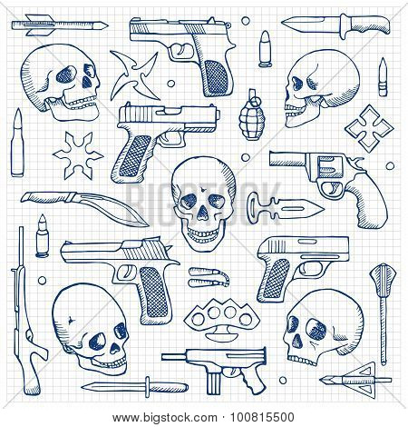 Hand drawn doodle set with skulls and guns