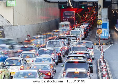 Busy traffic of the Cross Harbour Tunnel in Hong Kong