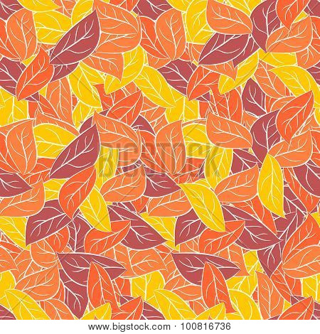 Autumn Foliage In Pastel Colours. Vector Seamless Pattern For Fabrics. Leaves Background