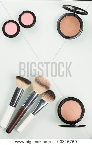Set of professional cosmetic: make-up brushes, shadows, Front part.