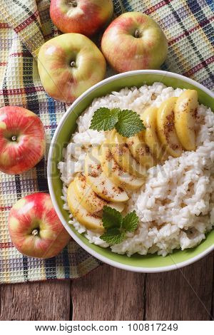 Rice With Caramelized Apples And Fresh Apples Closeup. Vertical Top View