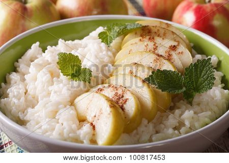 Rice Pudding With Apple And Cinnamon Macro. Horizontal