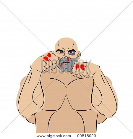 Fighter With A Bruise And Blood. Beaten Man Defends Himself. Fighting With Fists. Vector Illustratio