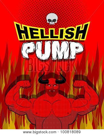Hellish Pump. Satan Bodybuilder With Huge Muscles. Workout With The Devil In Purgatory. Red Athlete